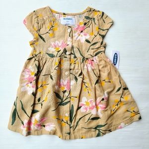 OLD NAVY tan floral button front dress baby 18mo